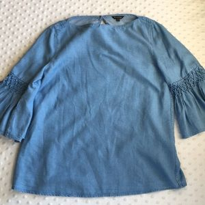 Massimo Dutti Chambray blouse bell smocked sleeves